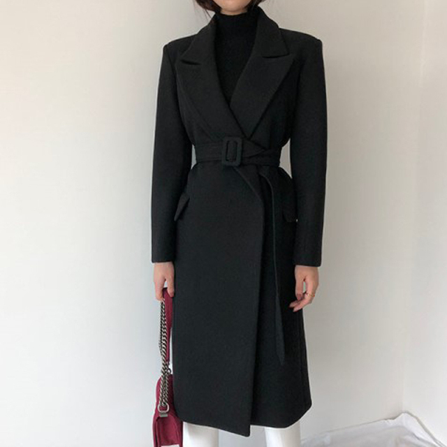 Woman Coats Winter Wool Long Coat With belt Office Lady Fashion lace Up Coats Outerwear 2