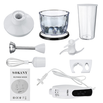 5 in 1 600W Electric Blenders Stick Whisk Juicer Mixer Portable Handheld Stainless Steel+ABS Vegetable Meat Grinder Food Chopper 5
