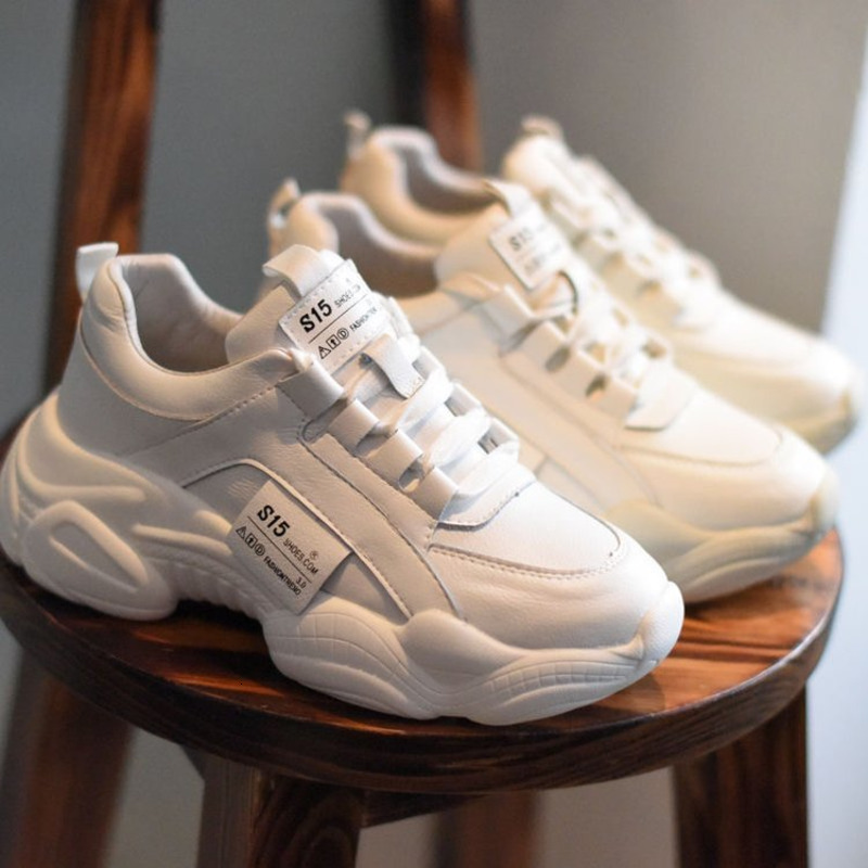 2019 Winter Women Chunky Sneakers White PU Leather Trainers Korean Fashion Female Platform Sport Old