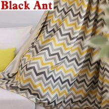 Striped Curtains Yellow Wave Gray Window Bedroom Tulle Curtains for Living Room Drapes Kitchen Sheer Fabrics Treatment wp275 #30
