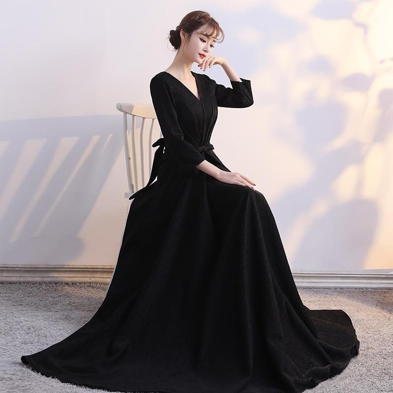 Col en v longue grande taille robe de soirée élégante Sexy robe formelle robes de soirée à manches longues robe de soirée abiye gece elbisesi