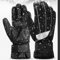 ROCKBROS Winter Waterproof Touch Screen Cycling Gloves Guantes Ciclismo Anti slip Warm Fleece Reflective Ski Gloves Bike Gloves