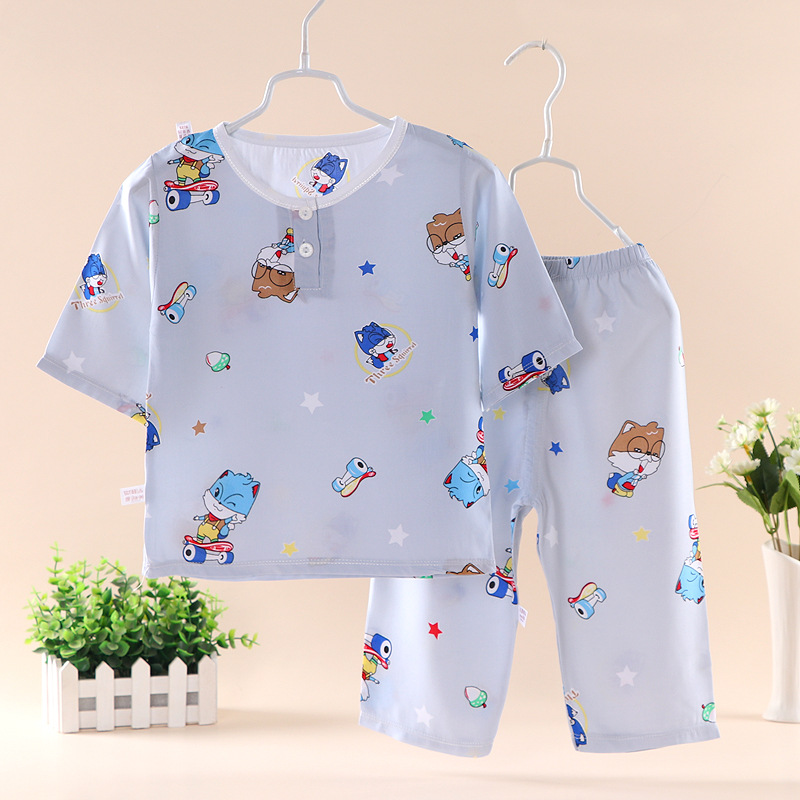 Children Cotton Silk Pajamas Suit BOY'S Bourette Thin Three-quarter-length Sleeve Pajamas Girls Air Conditioner Home Wear
