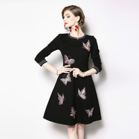 Newest 2019 Spring Women Luxury Pink Butterfly Embroidery A line Runway Dress Casual Black O Neck Long Sleeve Office Party Dress