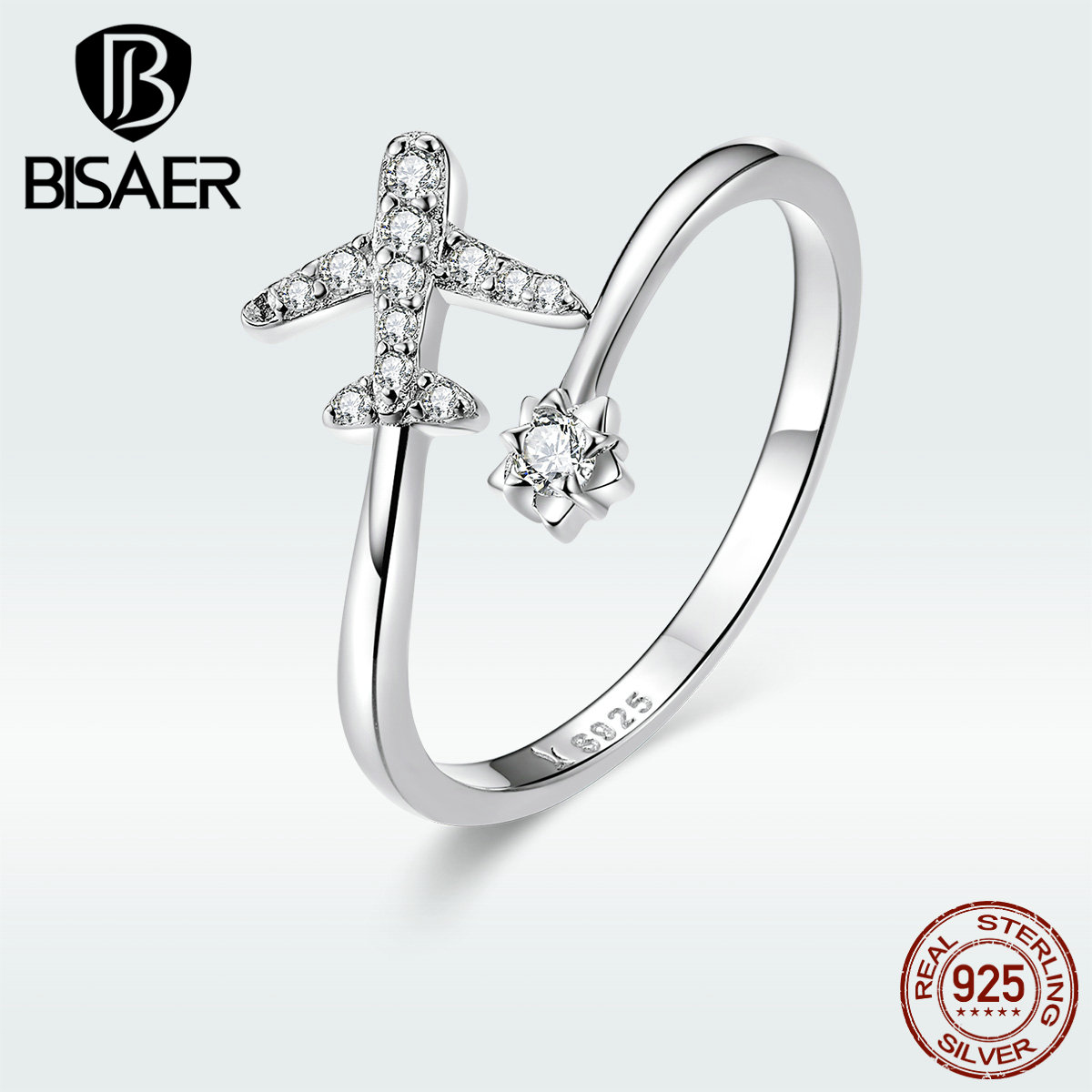 New Arrival BISAER 925 Sterling Silver Travelling Dream Cubic Zircon Plane Adjustable Rings For Women Jewelry Gift GXR623