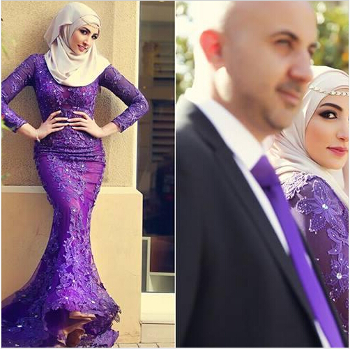 Purple Arabic Muslim Evening Lace Appliques Crystals Long Sleeve Party Floor Length Mermaid Gown Mother Of The Bride Dresses