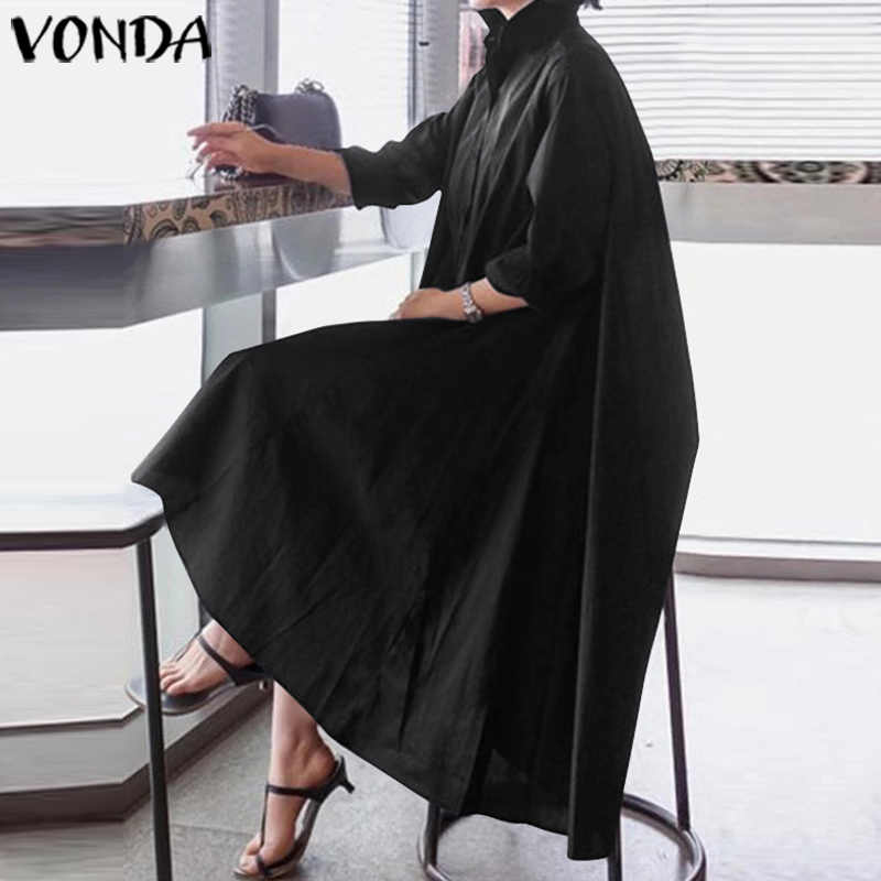 VONDA Office Dames Jurk Vrouwen Sexy Turn-down Kraag Asymmetrische Party Dress Zomer Zonnejurk Casual Losse Vestido Plus Size