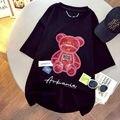 Женская футболка средней длины с коротким рукавом, красная Сетчатая футболка с блестками и медведем, летние свободные повседневные универс...