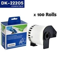 100 לחמניות DK 22205 תואם עבור Brother תוויות DK 22205 DK 2205 DK 205 תוויות רציפים עבור QL570 QL700