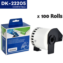 100Rolls DK 22205 Compatibel Voor Brother Labels DK 22205 Dk 2205 Dk 205 Continu Etiketten Voor QL570 QL700