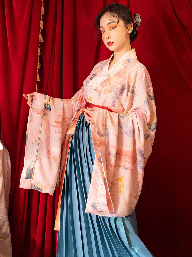Hanfu Women Chinese Traditional Costume Embroideried Empire Long Flared Sleeeves Princess Top And Skirt