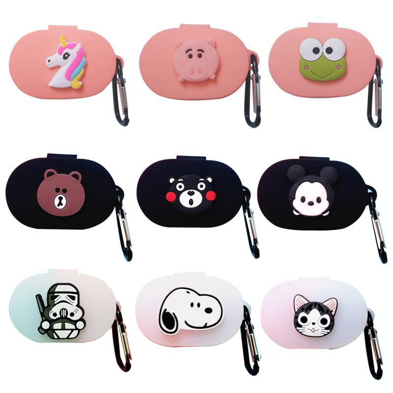 Cartoon Earphone Case With Hook For Xiaomi Redmi AirDots 2019 New Case Cover Wireless Bluetooth Earphone Cases Soft TPU Shell