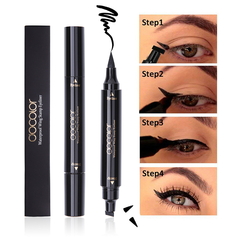 Docolor Black Liquid Eyeliner Stamp Marker Pencil Waterproof Stamp Double-ended Eye Liner Pen Cosmetic Eyeliner