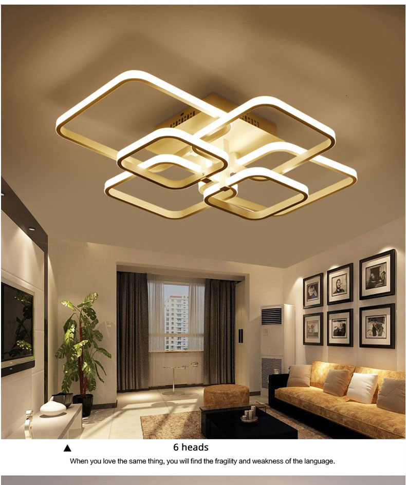 Square Circel Rings Ceiling Lights For Living Room Bedroom Home Modern Led Ceiling Lamp Fixtures lustre plafonnier dropshipping