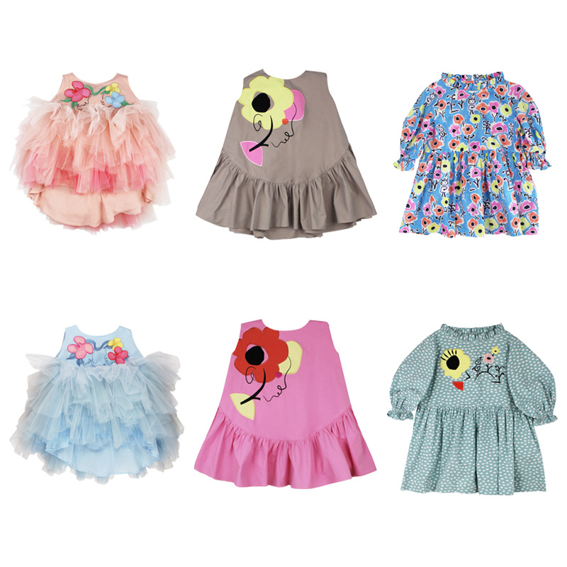 Girls Embroidery Flower TUTU Dress 2020 Kids Summer Vestidos Cortos Clothes For Girl Robe Fille PInk Princess Dresses