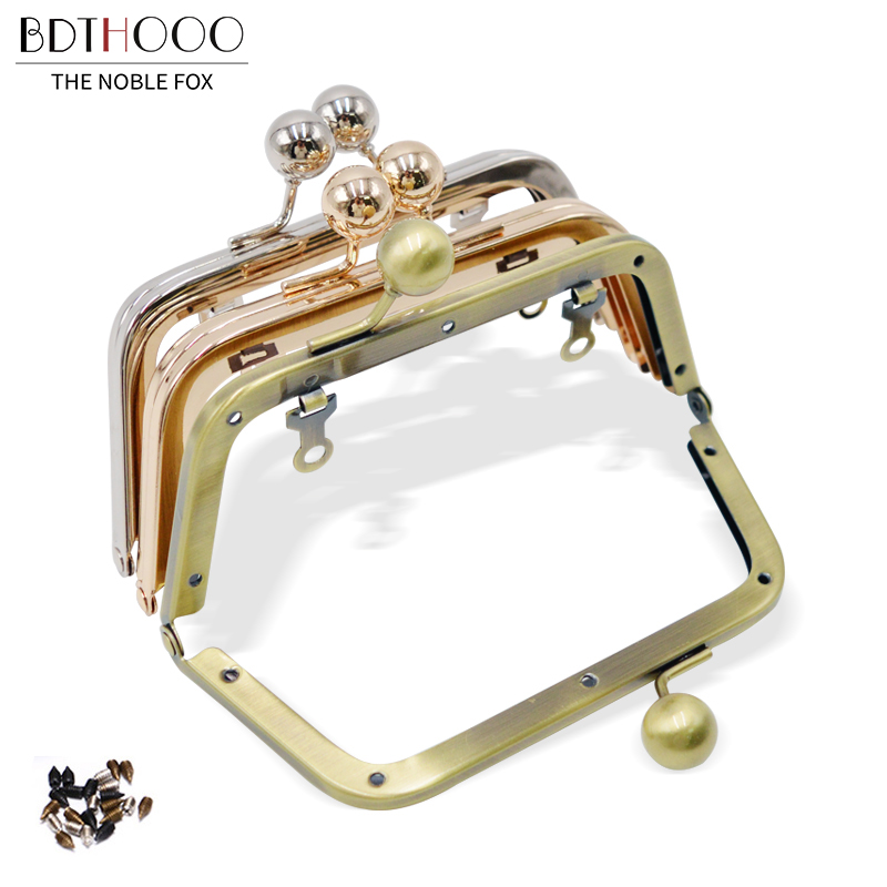 14 Cm Bag Accessories Screw Purse Frame For Women Handle Clutch Bag DIY Metal Kiss Clasp Lock Handles Frame Hardware