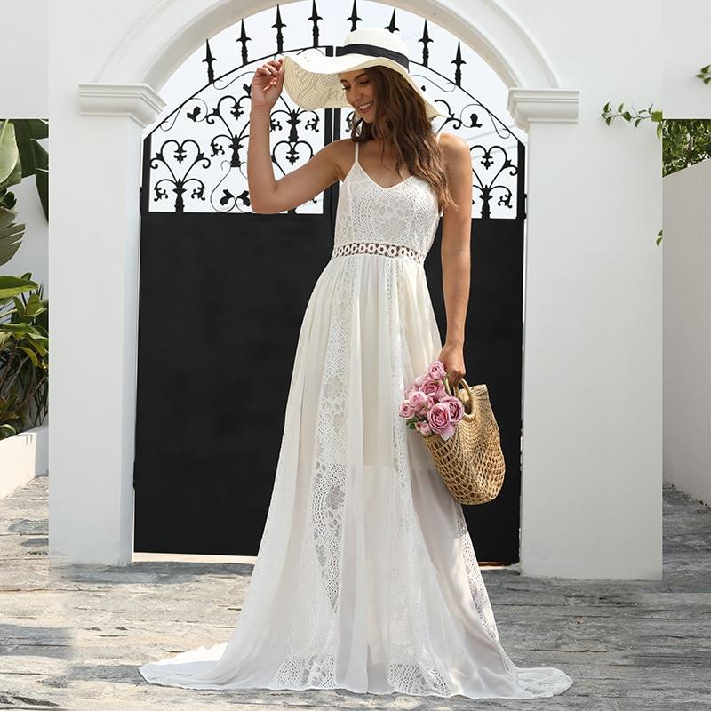 Ever Pretty Lace Wedding Dresses A-Line V-Neck Spaghetti Straps Illusion Bride Dresses EP00947CR Vestidos De Novia Baratos