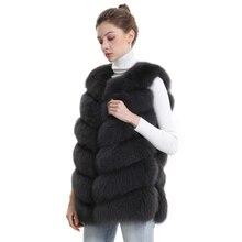 Jesienno zimowa damska prawdziwa kamizelka futrzana z lisa damski płaszcz z prawdziwego futra lisa skórzana kurtka ciepła dama kamizelka kamizelka z naturalnego futra lisa