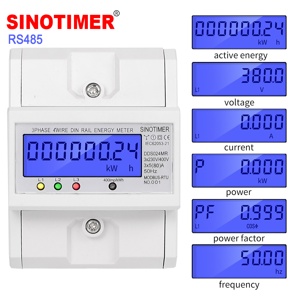 Multifunctional RS485 Modbus 3 Phase 4 Wire Electronic Wattmeter Power Consumption Energy Meter 5-80A 380V AC 50Hz Backlight