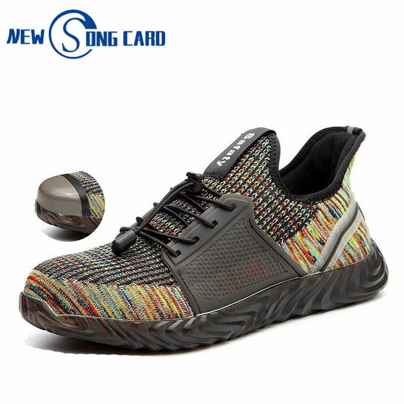 new work safety boots shoes male shoeKe construction steel toe caps anti-mite outdoor mesh sports shoes casual walking Sneakers