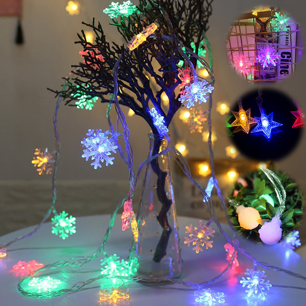 6M 40LED Snowflake Ball Star Battery String Lights Christmas Garland Fairy Curtian Light For Xmas Tree New Year Party Decoration