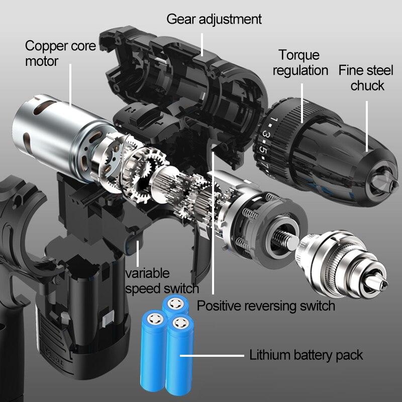 Аккумуляторный шуруповерт с насадками Pracmanu черный  устройство
