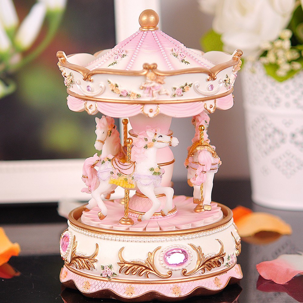 Mini Carousel Clockwork Music Box Colorful LED Merry-go-round Musical Box Gift For Girlfriend Kids Children Christmas Festival