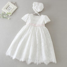 Hetiso White Infant Dress for Baptism Baby Girls Lace Dresses with hat Kids Clothes Christening Birthday Outfits 3-24 Month(China)