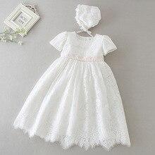 Hetiso לבן תינוק שמלת לטבילה תינוק בנות תחרה שמלות עם כובע ילדים בגדי יום הולדת טבילה תלבושות 3 24 חודש