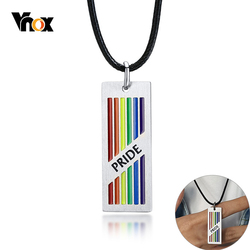 Vnox Pride Love is Love Rainbow Pendant for Men Stainless Steel Necklace LGBTQ Lesbian Gay Casual Jewelry