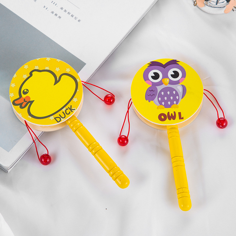 Early Education CHILDREN'S Wooden Rattle Traditional Toy Wood Shou Yao Gu Rattle Music CHILDREN'S Toy