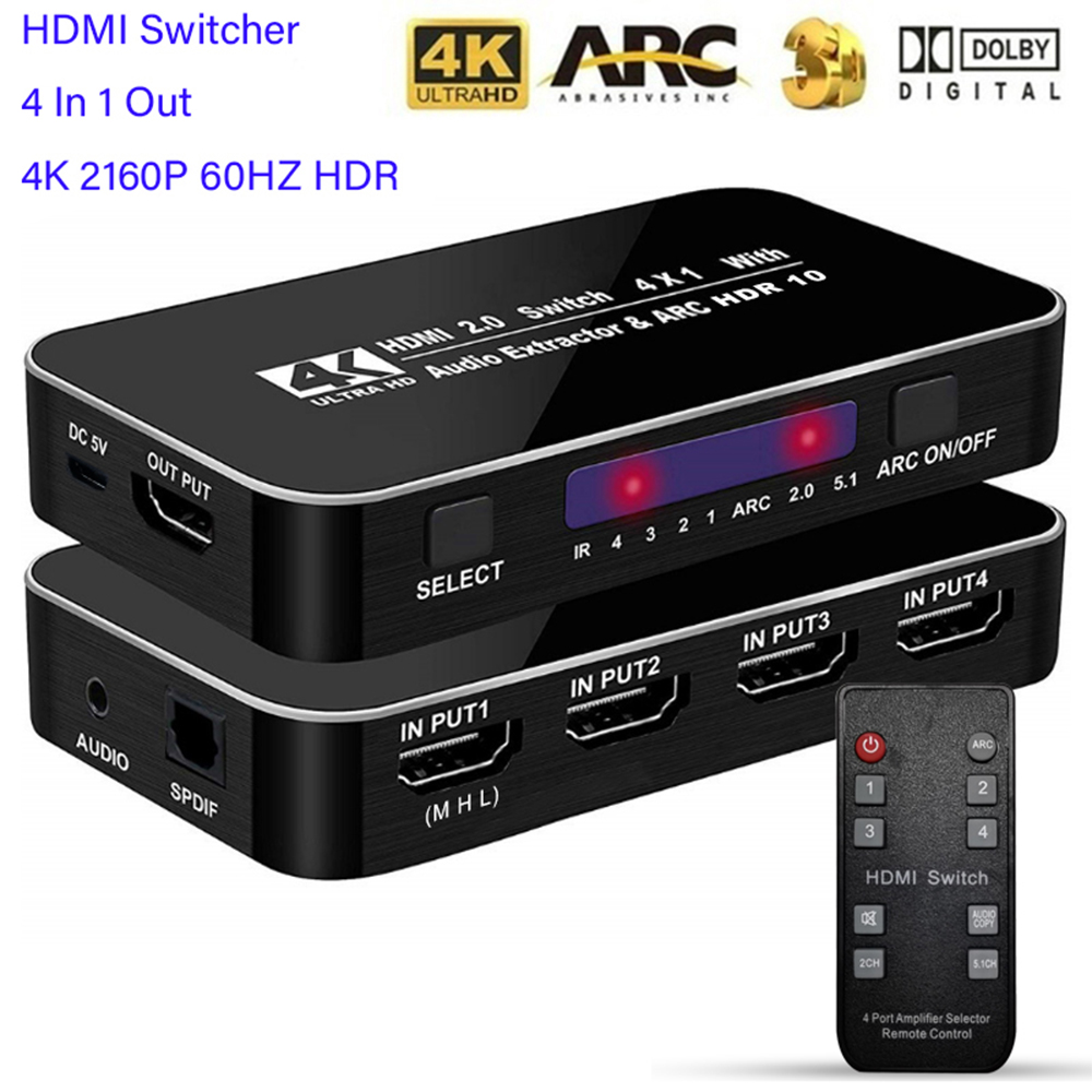 HDMI Switcher 4K 2160P 60HZ HDR 4 In 1 Out HDMI Switch 3 5mm jack ARC IR Control For PS3 PS4 HDTV Projector HDMI 2 0 Splitter
