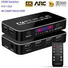 Przełącznik HDMI er 4K 2160P 60HZ HDR 4 w 1 na zewnątrz przełącznik HDMI 3.5mm jack łuku sterowanie IR dla PS3 PS4 projektor HDTV HDMI 2.0 Splitter