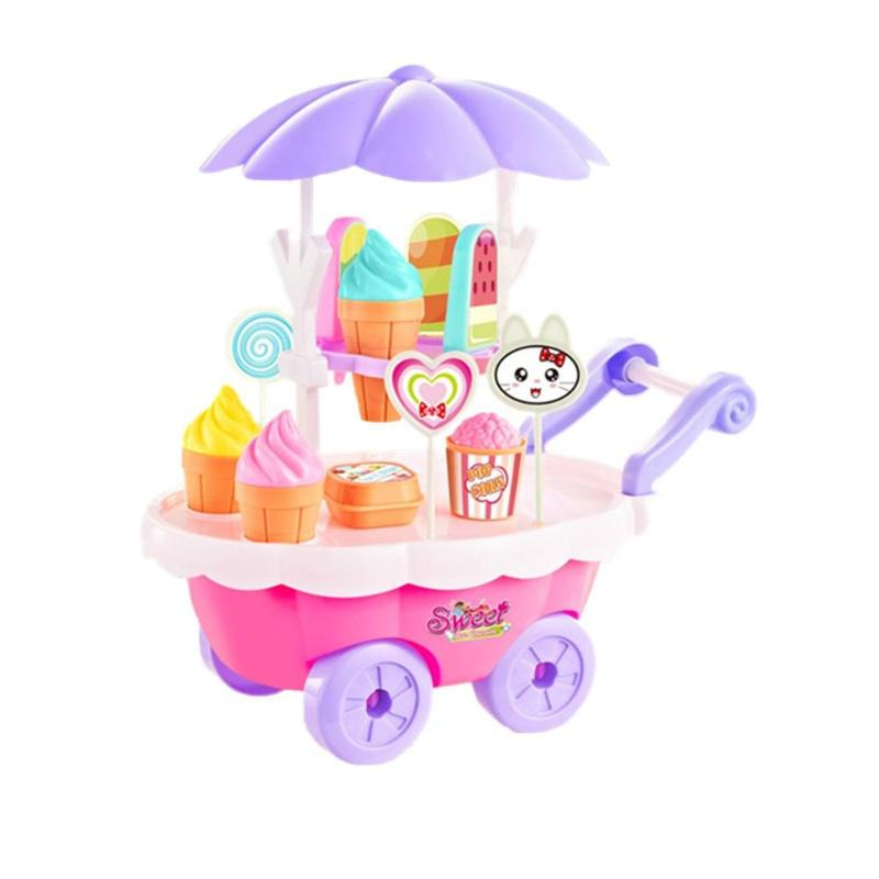 28pcs Simulation Mini Candy Cart Ice Cream Trolley Toy Play House Girl Gift