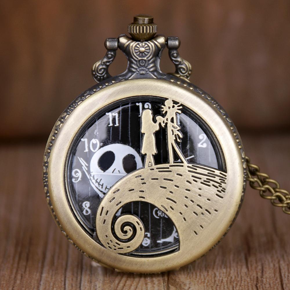 Retro Pocket Watch Jack Skellington Tim Burton Movie The Nightmare Before Christmas Pendant Necklace Clock Best Gift For Kids