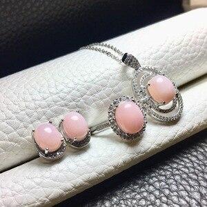 Image 5 - MeiBaPJ טבעי ורוד אופל חן עגילי טבעת ושרשרת 3 חליפת עבור נשים אמיתי 925 סטרלינג כסף בסדר תכשיטי חתונה סט