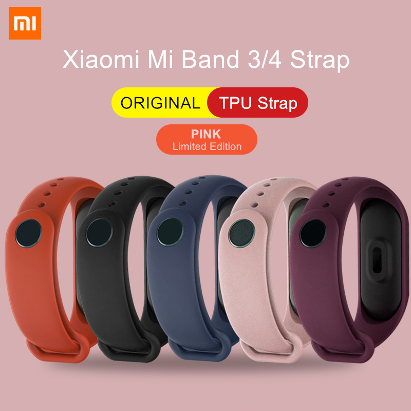 ORIGINAL XIAOMI Mi Band 3 4 Wrist Strap Pink Limited Edition Color TPU Material Accessories For Xiaomi Miband Smart Wristband