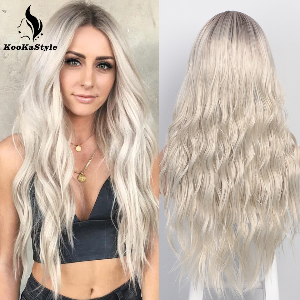 KooKaStyle Synthetic Long Wavy Wigs for Black Women Ombre Pink/Blonde/Highlight Wigs Natural Middle Part Heat Resistant Party