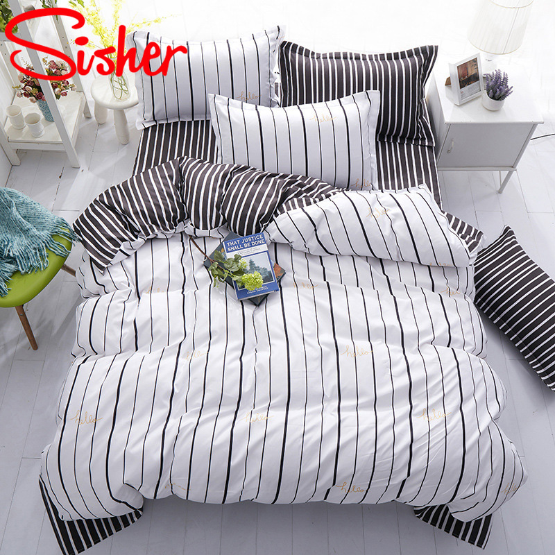 Image 3 - Sisher Nordic Bedding Sets Queen Size Plant Leaf Floral Plaid Stripe Duvet Cover Single Double King Set Quilt Cover Bed SheetDuvet Cover   -