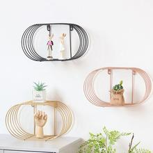 Oval Wrought Iron Shelf Wall Shelving Storage Unit Metal Organizer Wire Rack Creative Home Bedroom Decoration