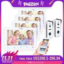 TMEZON אלחוטי/Wifi חכם IP וידאו פעמון אינטרקום מערכת, 10 אינץ + 3x7 אינץ צג עם 2x720P Wired דלת טלפון מצלמה