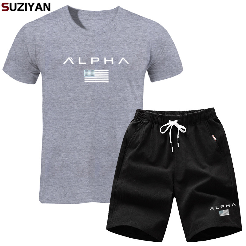 2019 New Men Fashion Two Pieces Sets T Shirts+Shorts Suit Men Summer Tops Tees Fashion Tshirt High Quality Men Clothing Tshirts