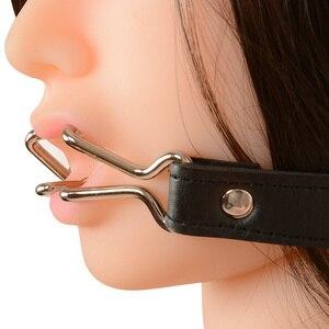 Mordaza de acero inoxidable para adultos dilatador de doble gancho para la boca, juegos de adultos, esclavo, Juguetes sexuales para parejas