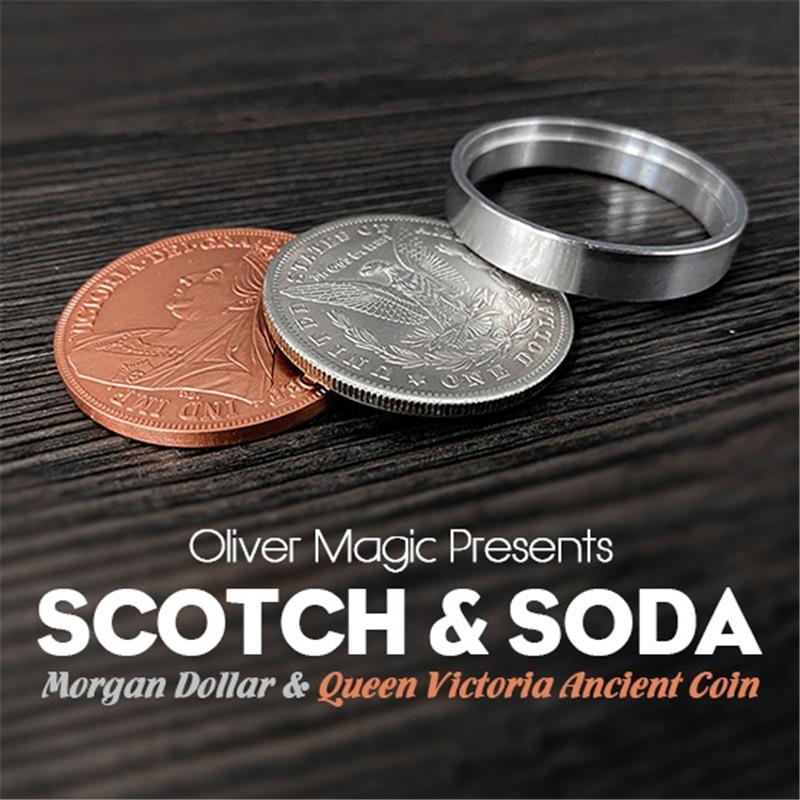 Scotch & soda por oliver magic (dólar morgan e rainha victoria moeda antiga) close-up magia magia truques truque truque magia adereços