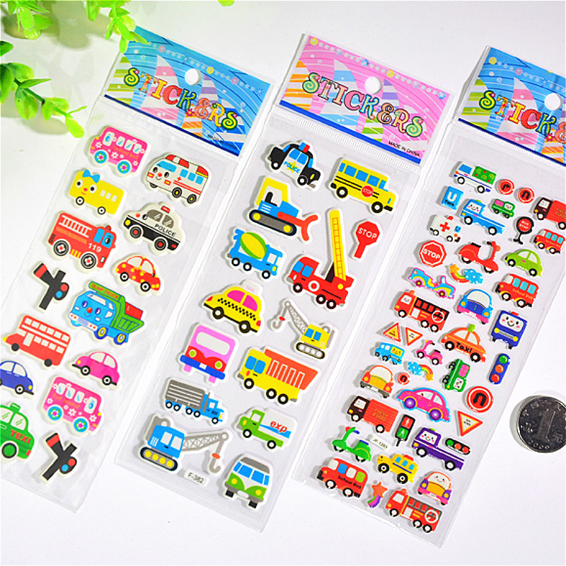 3D Puffy Bubble Stickers City Function Car Cartoon Princess Cat Waterpoof DIY Baby Toys for Children Kids Boy Girl(China)