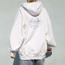 Vintage White Angel Print Hoodie Women 2020 Autumn White Cotton Long Sleeve Zipper Tops Female Casual Chic Streetwear Hoodied