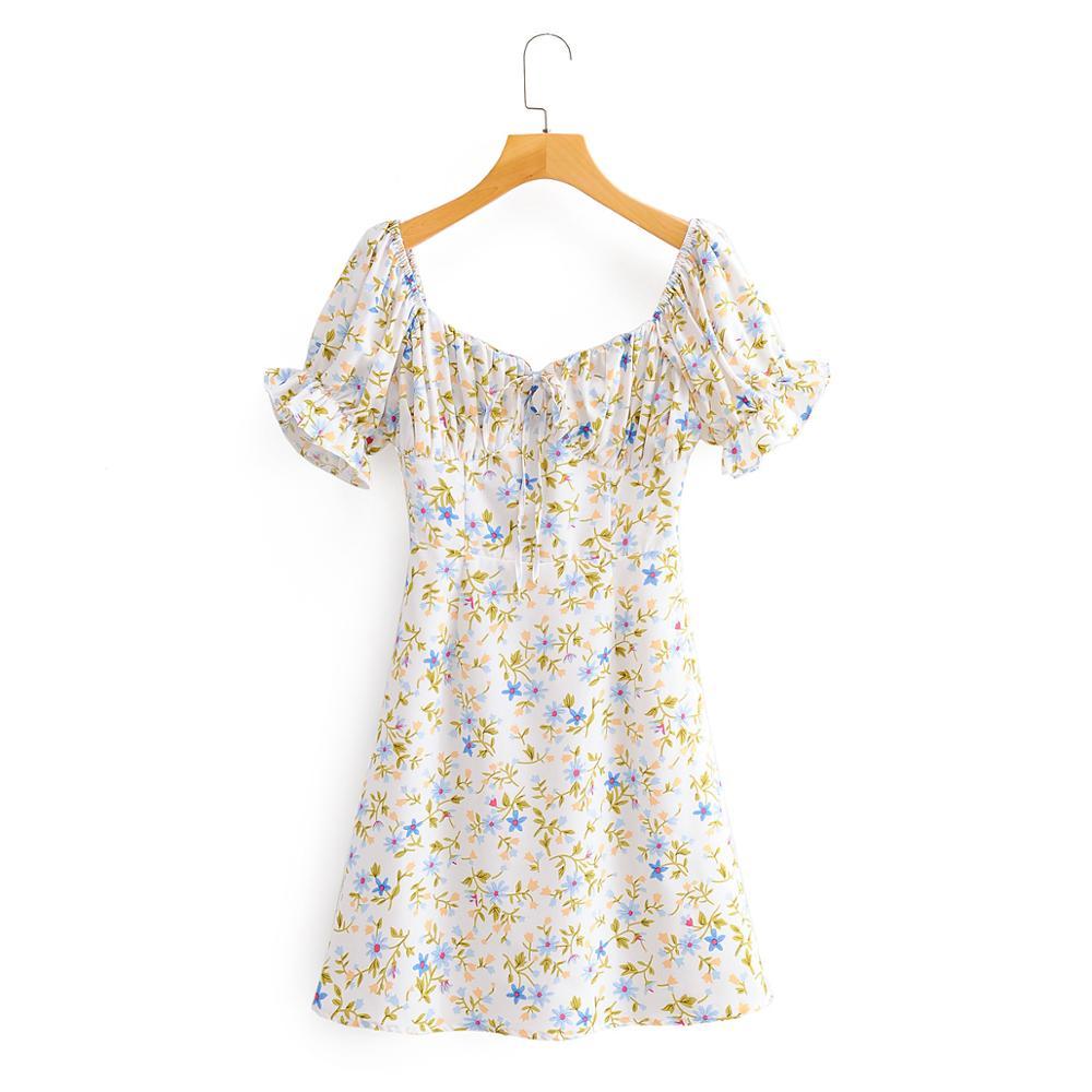 2020 French Elegant Women vintage puff sleeve printing mini Dress female square collar ruffles vestido Chic party Dresses DS3795