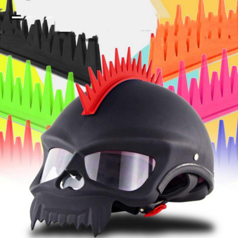 Unebenen Sägeblatt Auch Talon Feuer Motorrad Biker Helm Aufkleber Mohawk Spike Streifen Stick Auf Schwarz Blau Orange Rot Grün