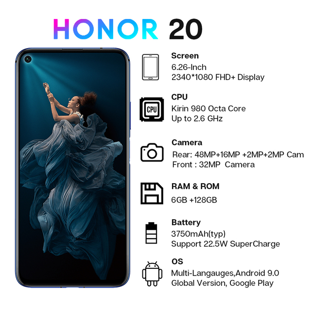 Honor 20 Smartphone 6G+128G Global Version Octa Core 48MP Four Cameras 6.26'' Mobile Phone Super Fast Charge Google Play NFC