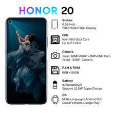 Honor 20 Smartphone 6G+128G Global Version Octa Core 48MP Four Cameras 6.26'' Mobile